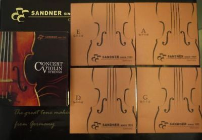 German Sandner Synthetic Core Violin String Set Suits 3/4 & 4/4 G,D,A,E