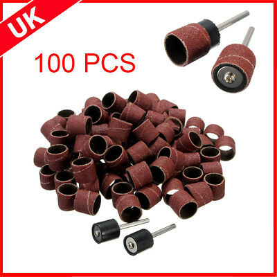 "100pcs 1/2"" Sanding Belts Bands Sleeves 2 Drum Mandrel For Dremel Rotary Tools"