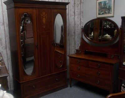 Edwardian Inlaid Mahogany Bedroom Suite Dressing Table Wardrobe Double Bed Base