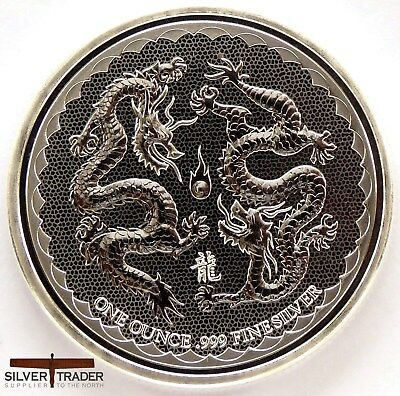 2018 1oz Double Dragon Niue Silver 1 ounce Silver Bullion Coin unc: