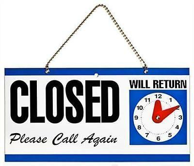 Plastic Double Sided Open And Closed Sign With Return Clock Time Shop Office
