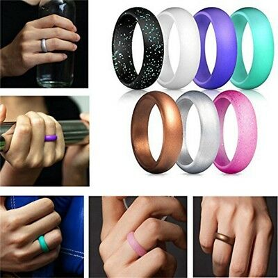 7 Pcs Silicone Wedding Ring Band Rubber Men Women Flexible Gifts Comfortable US