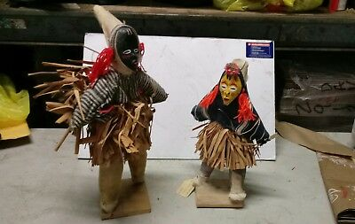 Vintage carved painted wooden doll Dan or Guere people of Liberia two on stand