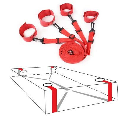 Hot Red Dungeon Bed & Wheel Restraint Straps System, Attached Wrist Ankle Cuffs