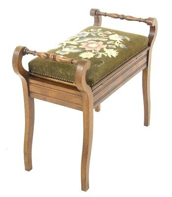 Piano Bench, Antique Piano Stool, Upholstered, Antique Furniture, 1900, B986