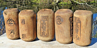 Japanese Fishing Floats WOODEN Lot of 5 ANTIQUE Cylinder Kanji-Marked ANCIENT