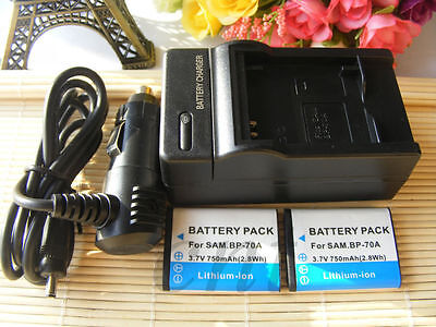 2XBP-70A Battery+charger For Samsung BP70A SL50 ES65 ES70 PL80 PL100 SL630 ST70
