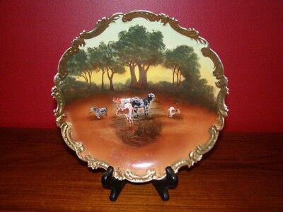 Vintage Royal Bayreuth Bavaria Plate - Pasture Scene w/ Cows & Gold Accents