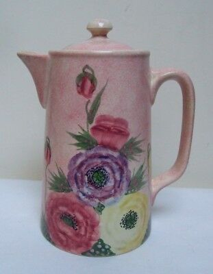 """H J WOOD E RADFORD FLORAL ANEMONE WATER COFFEE POT HAND PAINTED 1920's DECO 8"""""""