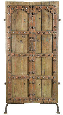 Antique Old Carved Doors On Stand,42'' X 83''h.
