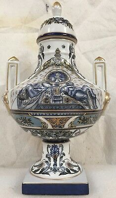 "Fine NeoClassic Porcelain in classical blue /white a13.5""unique urn with lid"