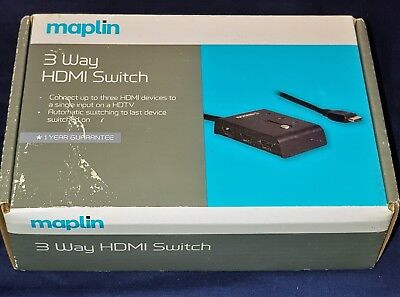 MAPLIN ESSENTIALS 3 Way Automatic HDMI Switch With LED Indicators In
