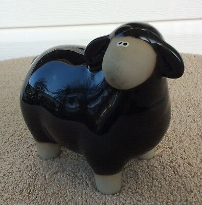 RARE Ceramic Black Sheep Folk Art Animal Figurine - Too Cute!!