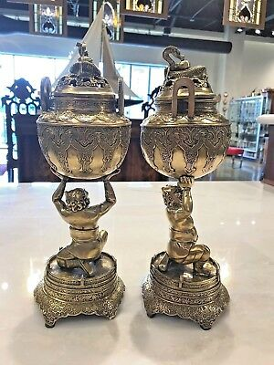 ANTIQUE PAIR  ORIENTAL SILVER PLATE  LIDDED CENSORS MONKEYS DRAGONS c 1900