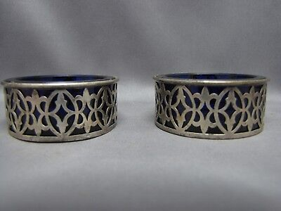 marked STERLING SILVER SALT CELLARS with COBALT GLASS INSERTS