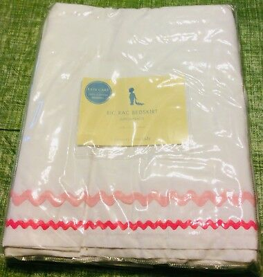 Pottery Barn Ric Rac Crib Skirt Bedskirt White & 2 Tone Pink NEW