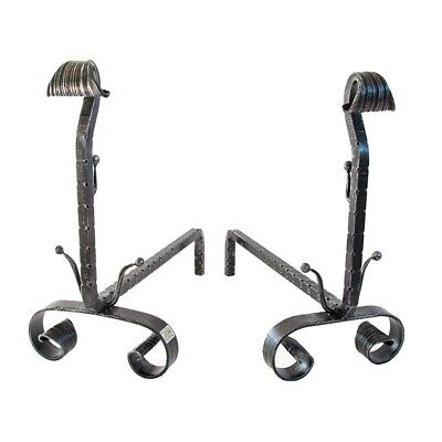 Couple of andirons wrought iron