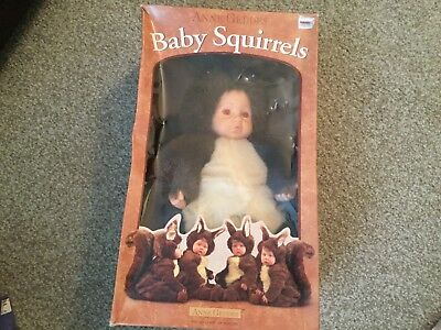 "Anne Geddes Baby Squirrels Doll 1999 NIB 14"" Down in the Garden #526601"