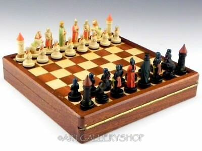 ANRI TORIART Italy HANDPAINTED MAGNETIC CHESS TRAVEL SET & BOARD Unused with Box
