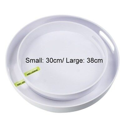 New 2x White Round Melamine Platter w Handle Catering Serving Tray 2 Size
