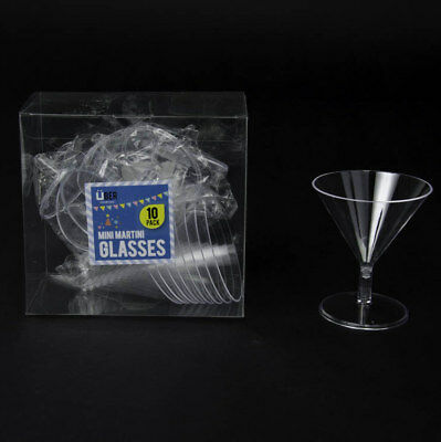 Mini Martini Glass Cup Shot Clear Plastic Cups Glasses Party Wedding Reusable