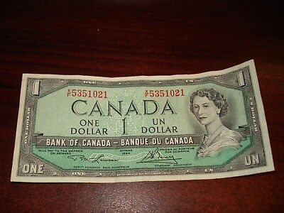 1954 - Canada - one dollar - Canadian $1 bank note - XF5351021