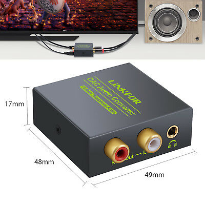 Optical Digital Coax Coaxial Toslink to Analog RCA L/R Audio Converter Adapter