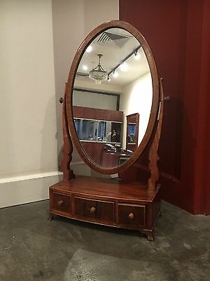 An Antique (Victorian) Sheraton Solid Red Mahogany Dressing Mirror