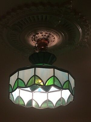 An Art-Deco French Ceiling Lamp/Pendant Light. Stained Glass & Brass.