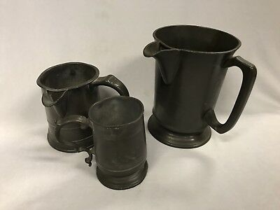 Antique Pewter Victoria Reign Marked Quart & Pint Measuring Jugs With ½ Pint Cup