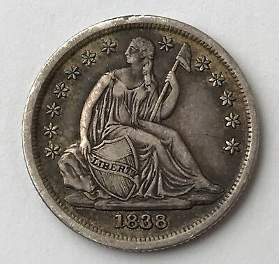 Dated 1838 - Silver Coin - Seated Liberty - One Dime - United States of America
