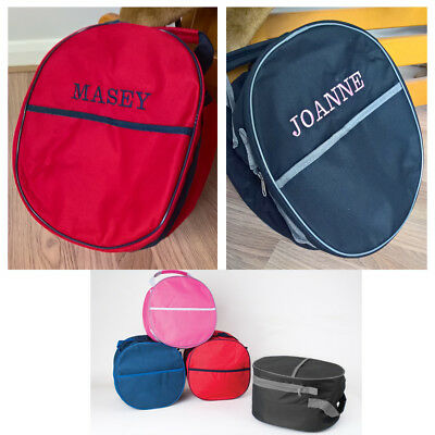 Personalised Riding Hat Bag, embroidered with your choice of name, riding helmet