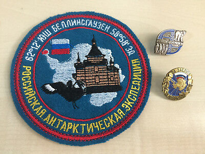 Russian badge, patch. Arctic, Antarctic expedition. Lot of 3