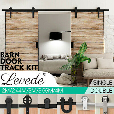 2/2.44/3/3.66/4M Antique Sliding Barn Door Hardware Track Set Track Roller Kit