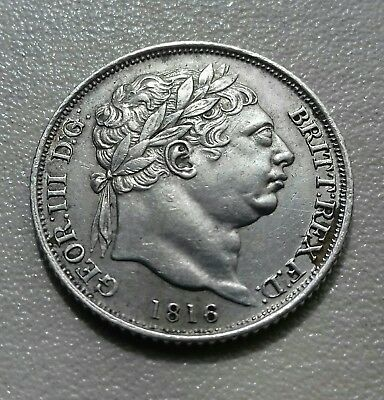 George Iii Sterling Silver Sixpence 1816 .