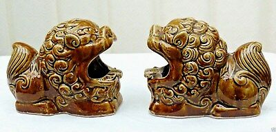 Pair Vintage Chinese Foo Dogs Chinese Imperial Lions Unusual Fu Dogs Gift Idea