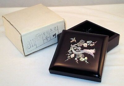 Beautiful Vintage Lacquer Wood Box w/Box ~ Mother of Pearl Inlay ~ Birds Korean