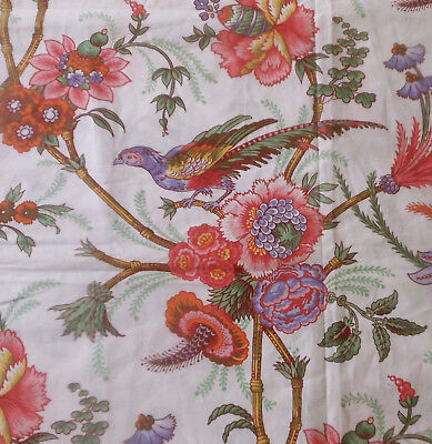 Vintage French Exotic Bird Floral Cotton Fabric ~ Coral Lavender Yellow Green