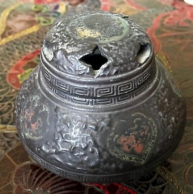 Antique Japanese Hand-painted Ceramic Incense censer, Signed