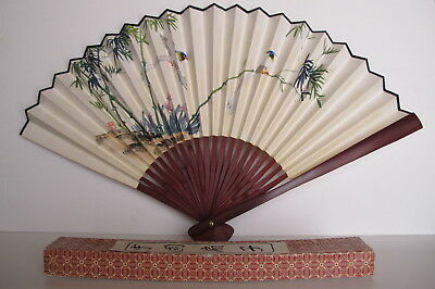 Vintage Chinese Hand Painted Rice Paper Bamboo Fan Bird Motif Original Box