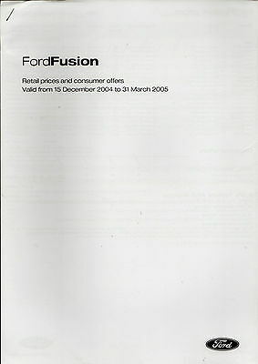 Ford Fusion Prices & Optional Extras Dec 2004-Mar 2005 UK Market Brochure