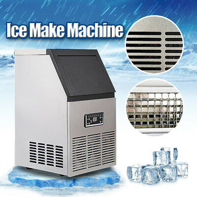 110Lbs Auto Commercial Ice Cube Maker Machine Stainless Steel Bar 110V 230W US