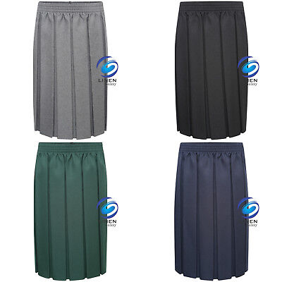 Girls Box School Skirt Full Pleated Full Elasticated Waist 4 Colours All Sizes