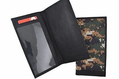 RFID Blocking Hand Crafted Army Camo Genuine Soft Leather Checkbook Cover