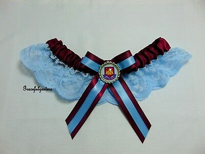 Plus Football Lace bridal wedding garter. The Irons. The Hammers. west