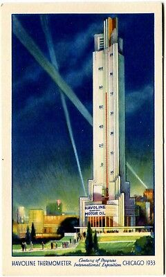 Havoline Waxfree Motor Oil Thermometer Texaco 1933 Chicago Worlds Fair Postcard