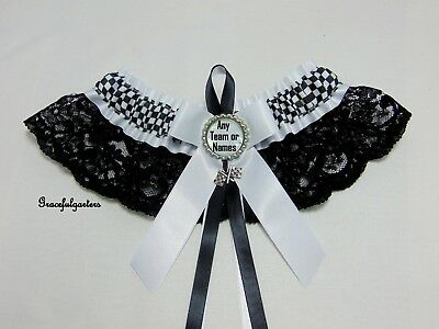Small Checkered flag racing team Lace Bridal Wedding Garter. Any Team or names