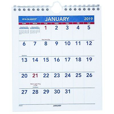 """2019 At-A-Glance PM5-28 Mini Monthly Wall Calendar, 6-1/2 x 7-1/2"""""""