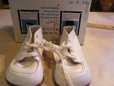 431b13b79c0af VINTAGE BUSTER BROWN Wikler White Baby Shoes w/Box ~ SZ. 3 1/2E