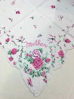 Lovely New MOTHER Handkerchief With Sweet Pink Roses!